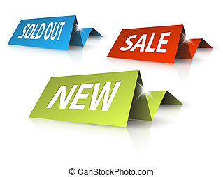 Colorful paper tag for eshop items - sold out, sale, new