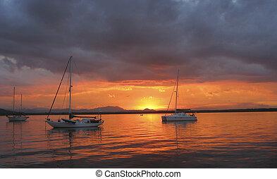 Sailboats at anchor1 - Sailboats at anchor in Laguna Barra...