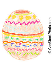 Easter egg drawing - Colorful ornamented Easter egg. Naive...