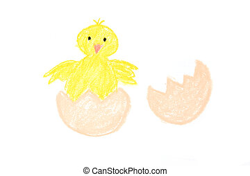 Easter new-born chick painted - Easter yellow chick new born...