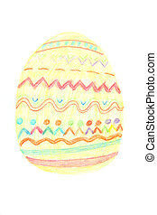 Easter egg painted by crayons - Easter decorated egg painted...