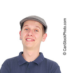 Young man in grey hat