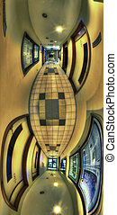 Asylum - Vertical panorama of a dirty corridor. Adobe 1998.