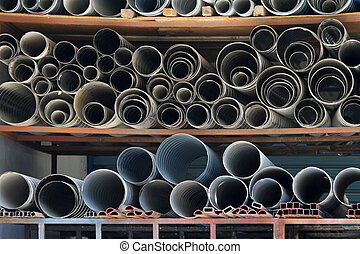 Pipe storehouse - Ductile iron and zinc pipes at warehouse