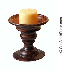 Retro candlestick - Retro wooden candlestick isolated with...