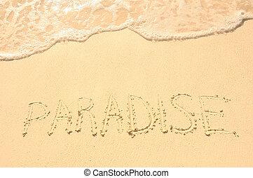 Paradise Written in Sand on Beach