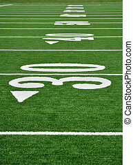 Thirty Yard Line on American Football Field - 30, 40, & 50...