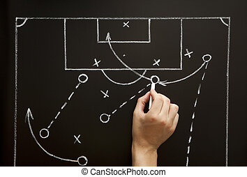 Man drawing a soccer game strategy with white chalk on a...