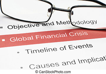Global crisis - CLose up of global crisis document