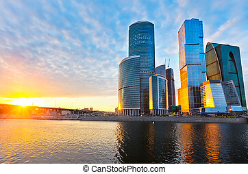 Moscow City - Scyscrapers of Moscow City at sunset