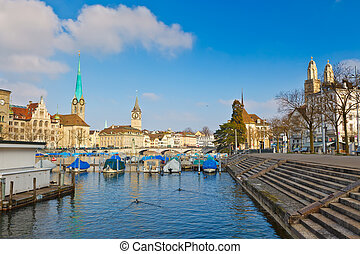 View on downtown of Zurich from Limmat river