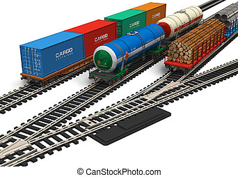 Miniature railroad models isolated on white background ***...