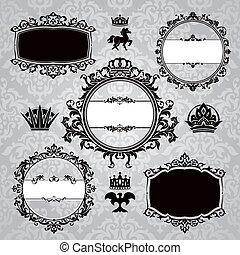 vintage design elements - set of royal frames and vintage...