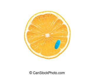 Healthy Living - Slices of citrus fruit and prescription...