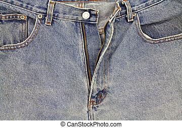 Old bluejeans - Close view of an old pair of bluejeans with...