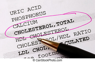 Cholesterol in a blood test - Focus on the cholesterol in a...