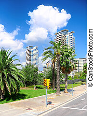 City view of Barcelona, Spain. - Typical landscape of one...