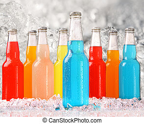 Cool summer drinks with ice background
