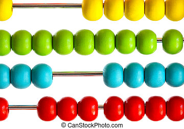 Closeup of bright  abacus beads on white
