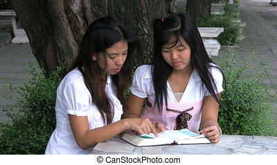 Asian Girls Reading The Bible - Two Asian university...