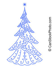 Christmas fir tree, pictogram - Christmas holiday fir tree,...