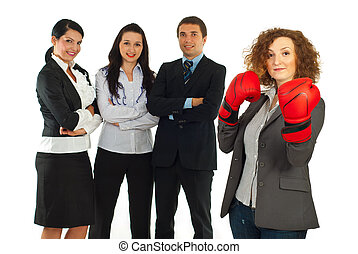 Leader businesswoman and her team