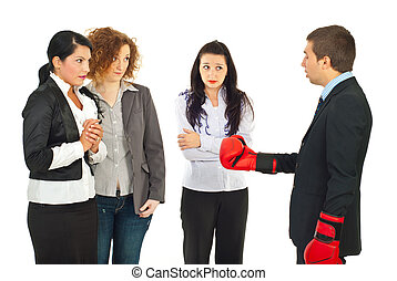 Manager having conflict with employees - Manager wearing...