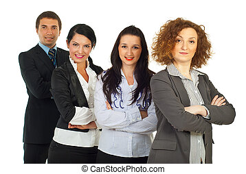 Row of four business people