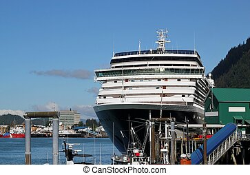 Cruise ship in Juneau Alaska - Large cruise ship at dock in...