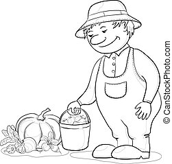 Gardener with vegetables, outline - Vector, men gardener...