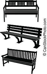 Bench silhouette - vector