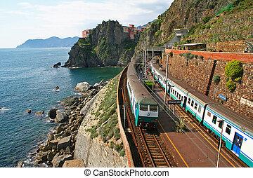 Italy Cinque Terre Train at station Manarola