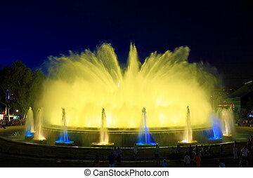 Fountain in BarcelonaSpain - The famous Montjuic Fountain in...