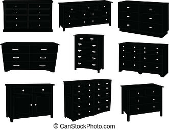 Dressers silhouette collection vector