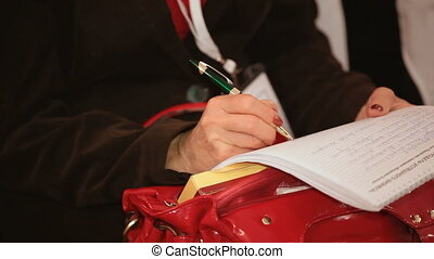 Write on a piece of paper - Person records the information...