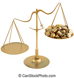 scales - jewelry scales with a heap gold coins. isolated on...