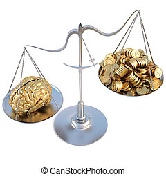 scale - golden brains outweigh the pile of gold coins on the...