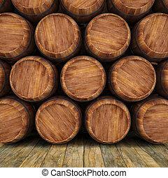 barrels - wall of wooden barrels.