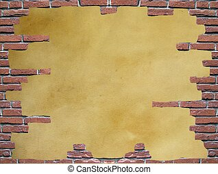Parchment in a brick frame - Ancient parchment in a red...