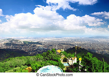 Barcelona city from mountain top Tibidabo. - Panorama view...