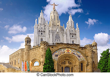 Temple on mountain, Barcelona.Spain - Temple on mountain top...