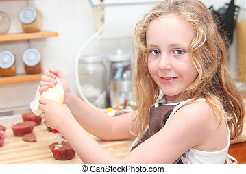 kid baking or cooking - child cooking and helping decorate...