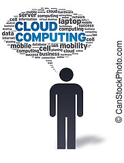 Paper Man with Cloud Computing Bubble