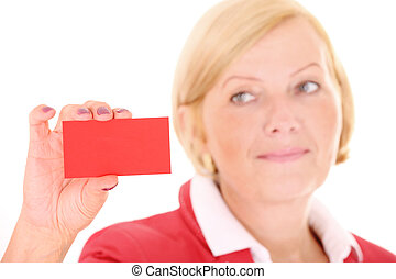 Businesscard - A picture of a mature woman with a red...