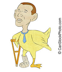 african american lame duck with crutch - cartoon...