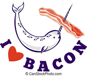 narwhal whale i love bacon - illustration of narwhal whale...