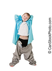 This photograph shows a boy in father's trousers