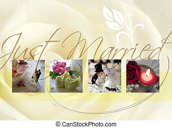 Just married card with bride, bridegroom and rose