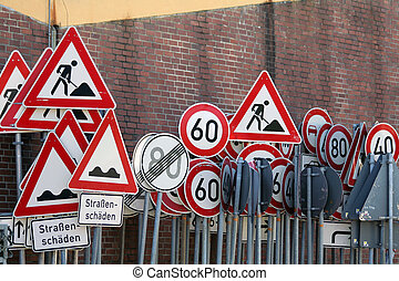 traffic signs - any traffic signs in front of the wall