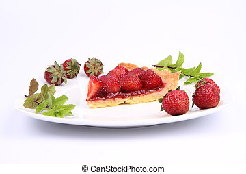 Strawberry Tart - Piece of Strawberry Tart on white plate...